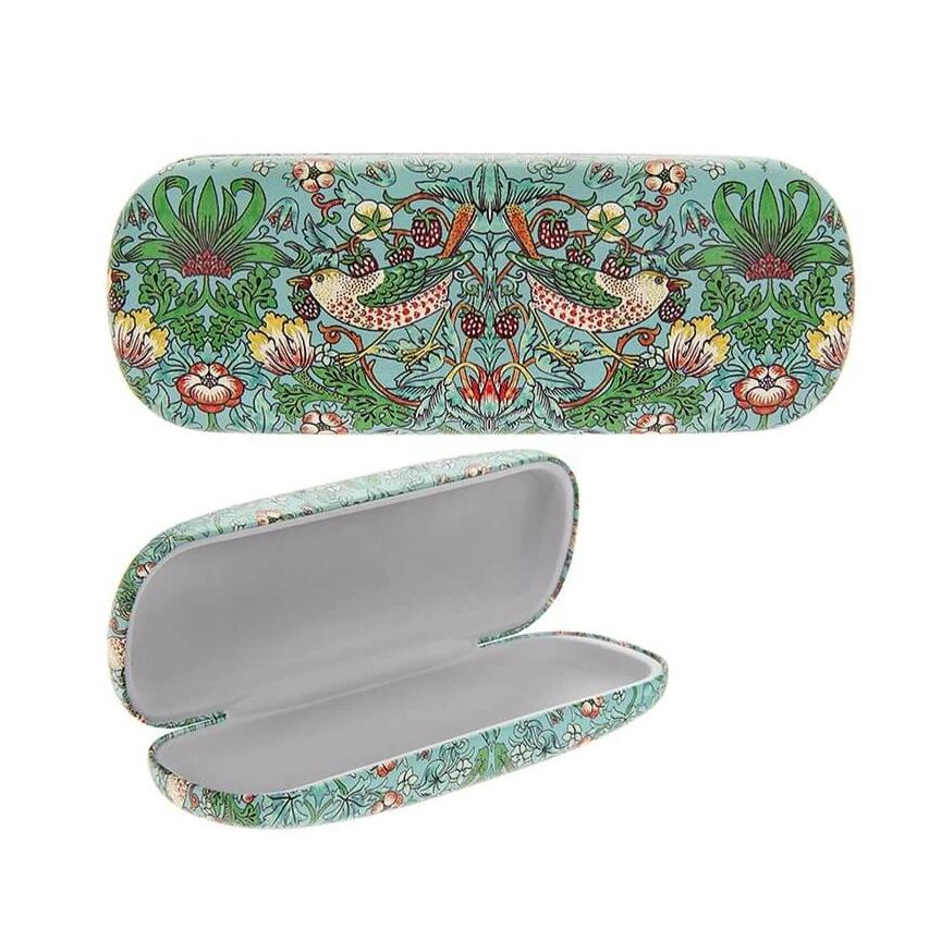 william morris teal strawberry thief glasses case