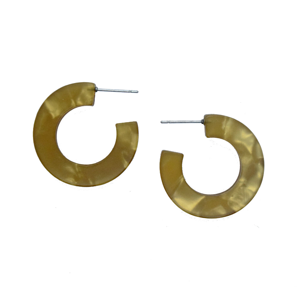yellow resin hoop earrings