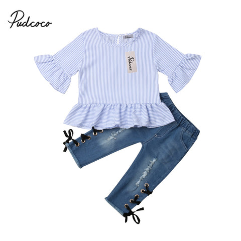 Ruffle Striped Top + Denim Pants Outift - tiny-tots-eco
