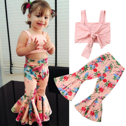 Floral Crop Top + Bell-Bottoms Pants for Girls Outfit - tiny-tots-eco