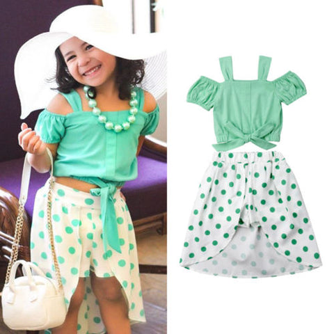 Little Girl's Set Off Shoulder Top + Shorts Polka Dot Skirt Outfit - tiny-tots-eco