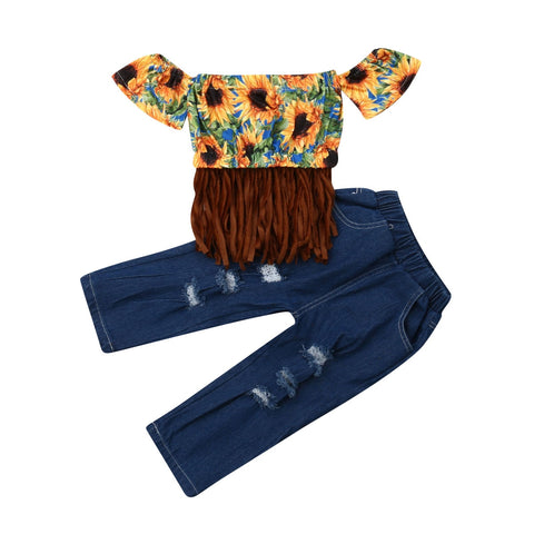 Sunflower Short Sleeve Top + Denim Pants Outfit - tiny-tots-eco