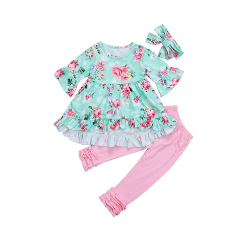 Adorable 3 Piece Floral Outfit for Baby Girls - tiny-tots-eco