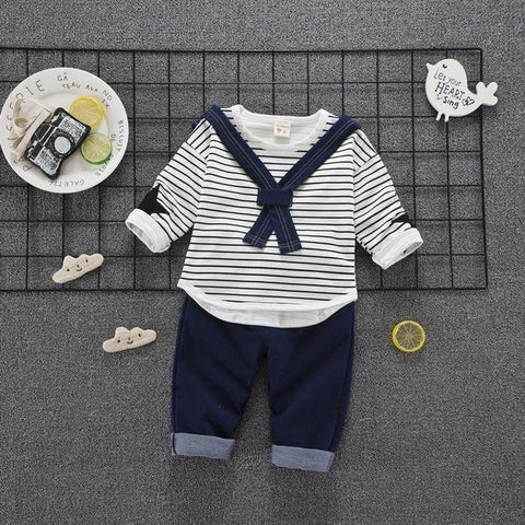 Formal Unisex Full Striped Clothe Set - tiny-tots-eco