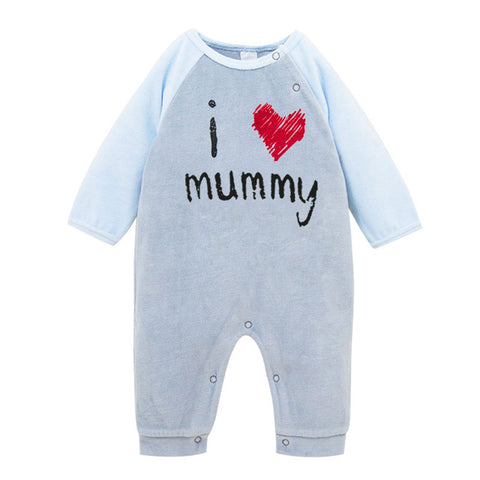 """I Love Mummy""/""I Love Daddy"" Winter Baby Jumpsuit - tiny-tots-eco"