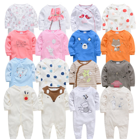 4 Piece Summer Long Sleeve Pajama Rompers - tiny-tots-eco