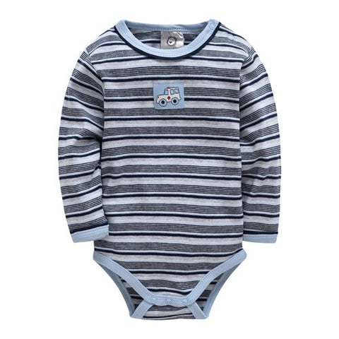 Winter Long Sleeve Striped Romper - tiny-tots-eco