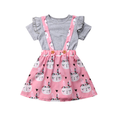 Bunny Themed Summer Skirt Outfit for Baby Girls - tiny-tots-eco