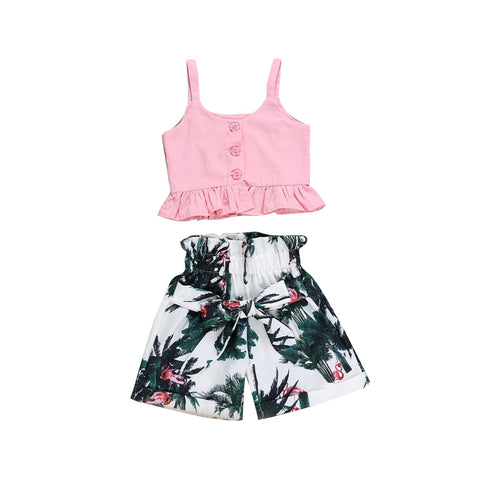 Stylish Floral Flamingo Themed Outfit for Baby Girls - tiny-tots-eco