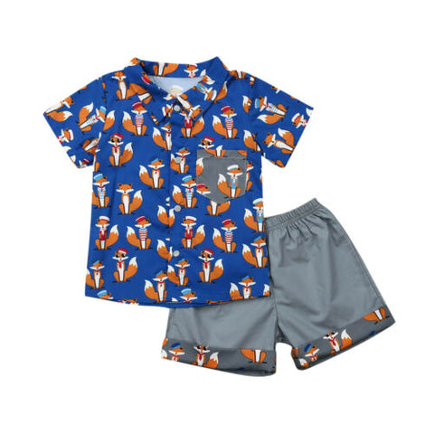Short Sleeve Shirt + Trousers Outfit for Baby Boys - tiny-tots-eco
