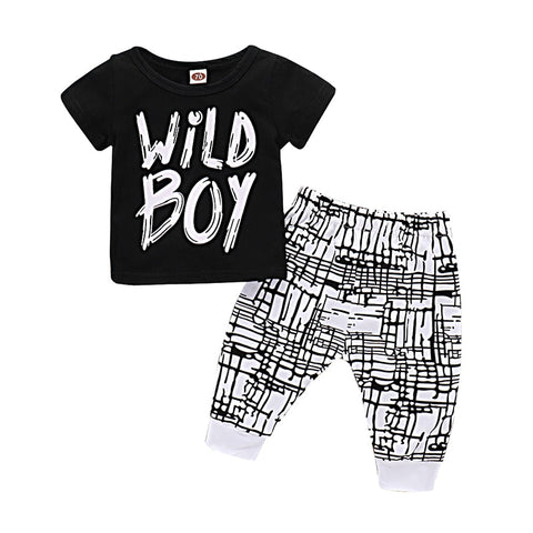 Wild Boy T-shirt + Pants Cotton Set - tiny-tots-eco
