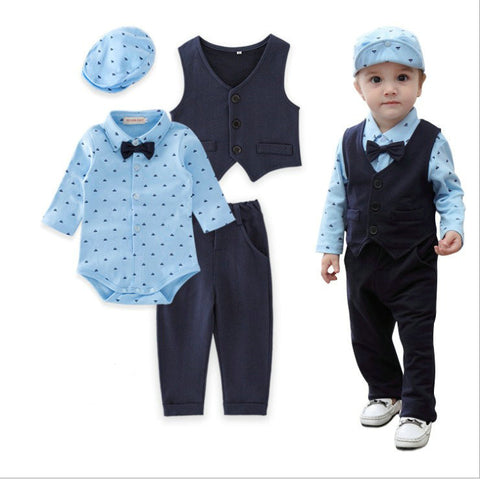Formal Gentlemen Bowtie Baby Boy Clothe Set - tiny-tots-eco