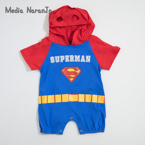 Summer Cotton Hooded Superhero Romper - tiny-tots-eco
