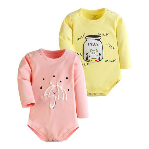 Long Sleeve Cotton Rompers - tiny-tots-eco