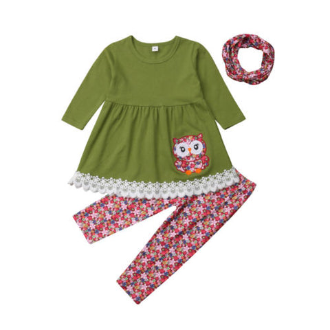 3Pcs Dress Top + Leggings + Matching Headband Outfit - tiny-tots-eco