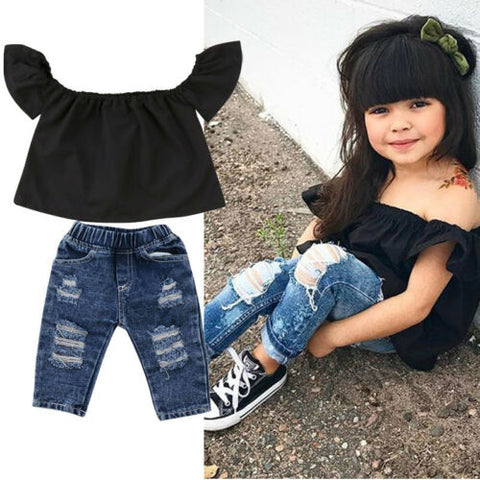 Baby Girl Off Shoulder Top + Denim Long Pants Outfit - tiny-tots-eco