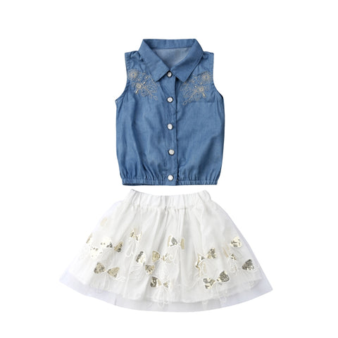 Adorable Summer Denim Top + Skirt Dress Outfit - tiny-tots-eco