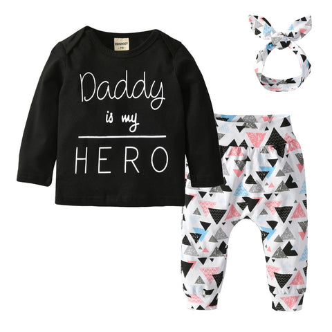 Daddy is my Hero Cotton Outfit With Headband - tiny-tots-eco