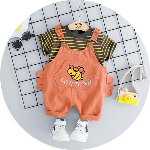 Baby Boy Short Sleeved+Suspenders Suit - tiny-tots-eco