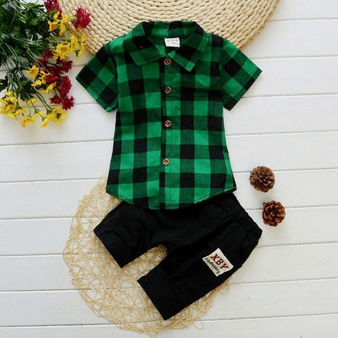 Short Sleeved Shirts + Shorts Casual Clothes Set For Boys - tiny-tots-eco