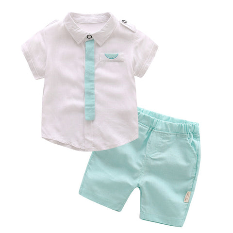 Little Gentleman White and Green Formal Outfit - tiny-tots-eco