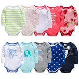 5 Pieces Baby Long Sleeve Rompers - tiny-tots-eco