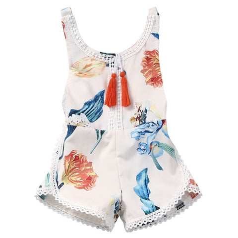 Floral Fashion Backless Tassel Jumpsuit For Girls - tiny-tots-eco
