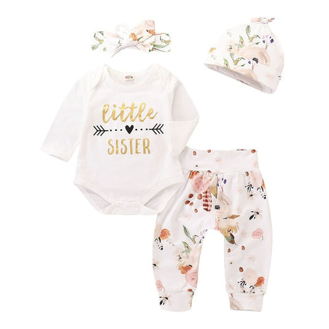 Little Sister Long Sleeve Romper+Pants+Hats+Headband Set - tiny-tots-eco