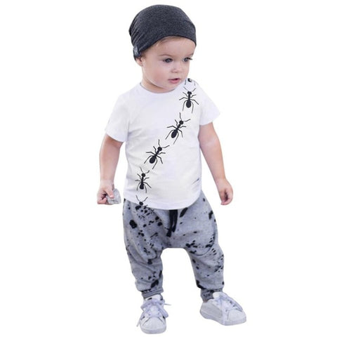 Short Sleeve Ant Print T-Shirt +Dot Pants Outfit Set - tiny-tots-eco