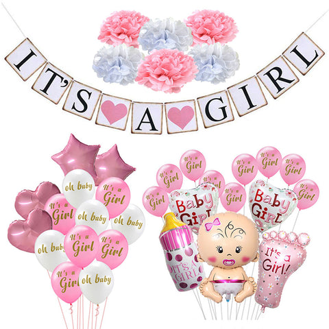 Baby Shower Decorations It's A Boy Girl Banner Gender Reveal Oh Baby Balloon Birthday Party Decorations Kids BabyShower Supplies - tiny-tots-eco