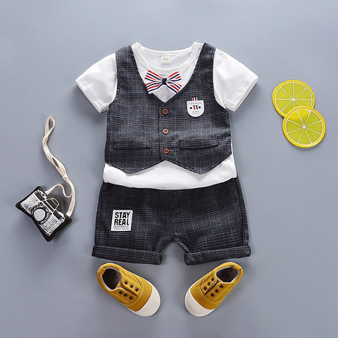 Baby Vest + T-shirt + Short Gentleman Clothes - tiny-tots-eco