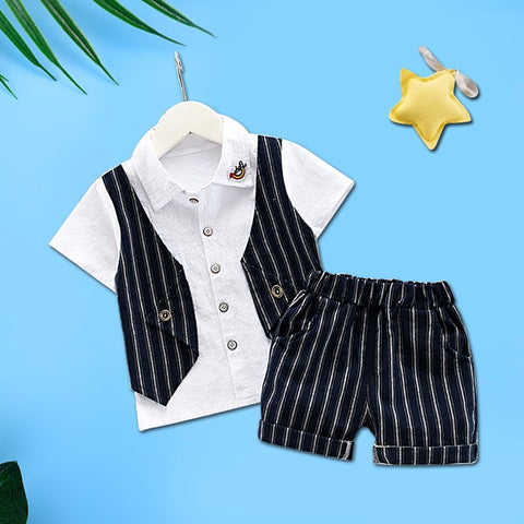 Gentleman Boys Summer Tshirt + Shorts Outfit - tiny-tots-eco