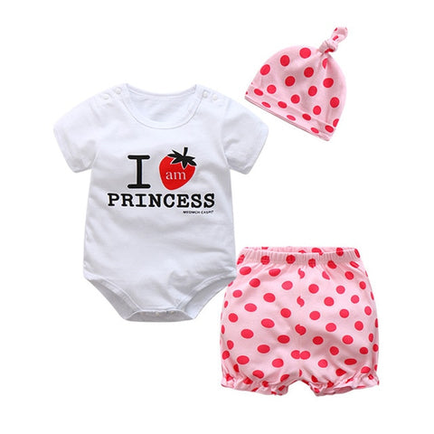 Cute 3 Pieces Summer Cotton Outfit - tiny-tots-eco