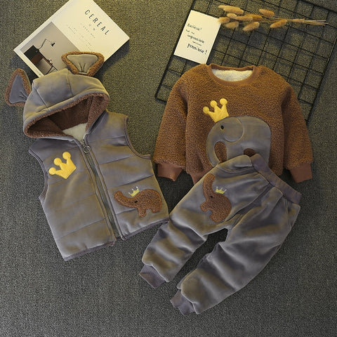 3 Piece Winter Thick Velvet Tracksuit - tiny-tots-eco