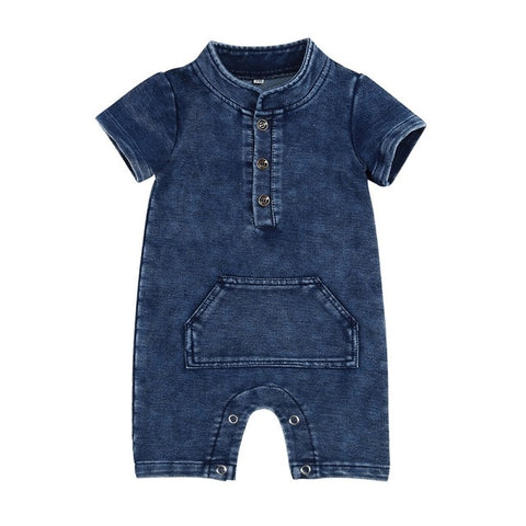 Denim Short-Sleeved Baby Romper - tiny-tots-eco