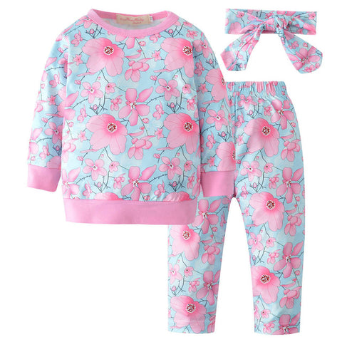 3 Piece Floral Winter Outfit Set - tiny-tots-eco