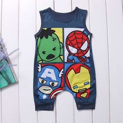 Superhero Cartoon Sleeveless Romper - tiny-tots-eco