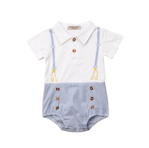 Gentleman Short Sleeve Romper For Babies - tiny-tots-eco