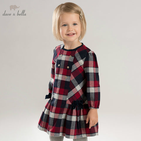Autumn Baby Girl Plaid Long Sleeve Dress - tiny-tots-eco