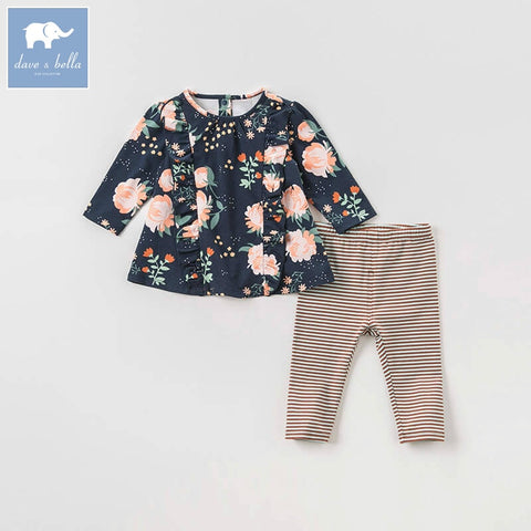 Autumn Floral Long Sleeve Shirt + Striped Pants Outfit - tiny-tots-eco