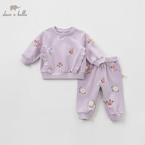 Spring Floral Long Sleeve Top + Matching Pants Outfit - tiny-tots-eco