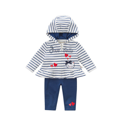 Spring Hooded Striped Long Sleeve Top + Pants Outfit - tiny-tots-eco