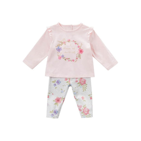 Spring Floral Long Sleeve Shirt + Matching Pants Outfit - tiny-tots-eco