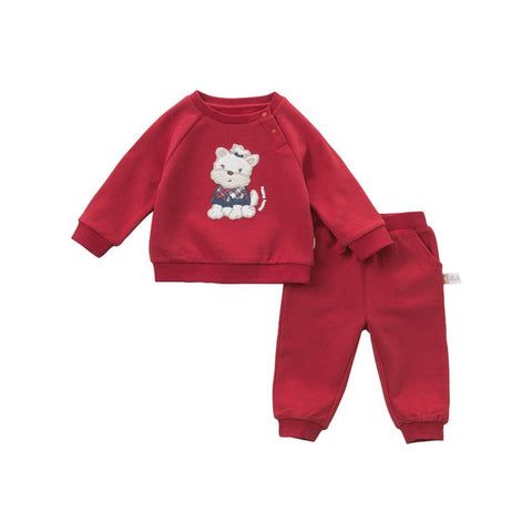 Spring Long Sleeve Shirt + Pants Outfit for Baby Girls - tiny-tots-eco