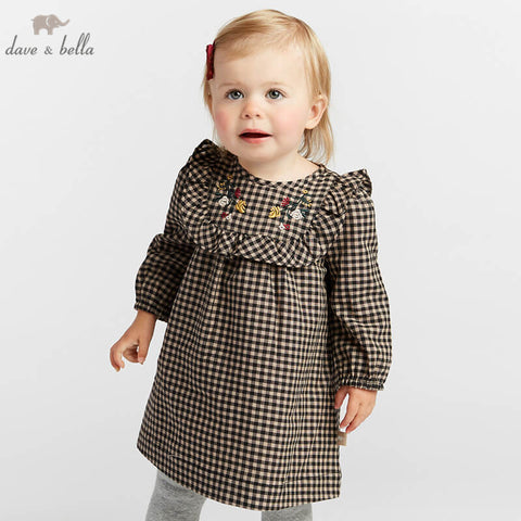 Autumn Plaid Long Sleeve Dress for Baby Girls - tiny-tots-eco