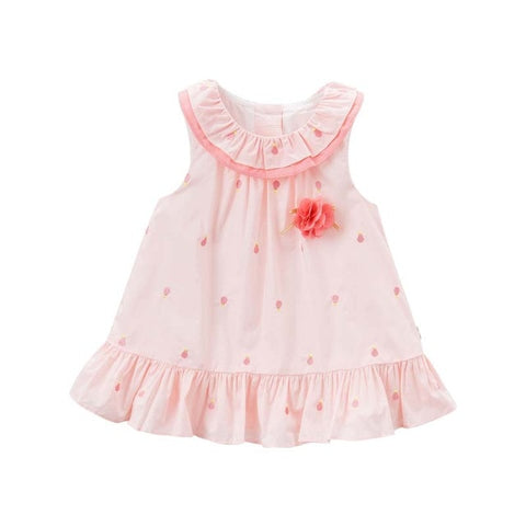 Pink Patterned Baby Girl Sleeveless Dress - tiny-tots-eco
