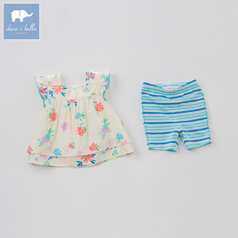Floral Sleeveless Top + Striped Shorts Outfit - tiny-tots-eco