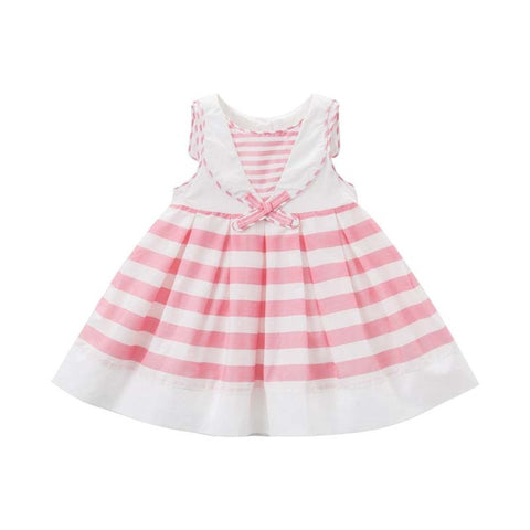 Striped and Bow Summer Baby Girl Dress - tiny-tots-eco