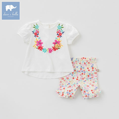 Summer Baby Girl Floral Short Sleeve Shirt + Short Pants Outfit - tiny-tots-eco