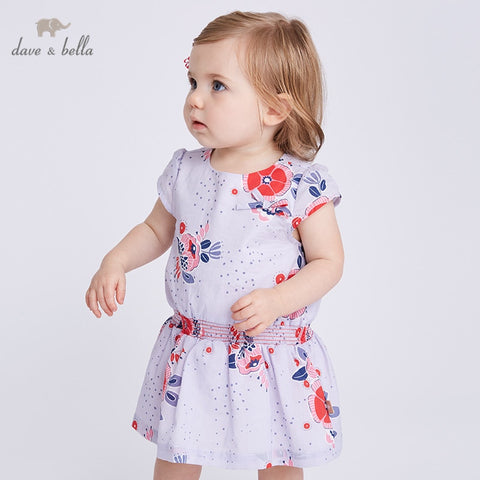 Summer Floral Short Sleeve Dress for Baby Girls - tiny-tots-eco